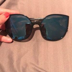 Oversized Black Cat Eye Sunglasses Blue Lenses